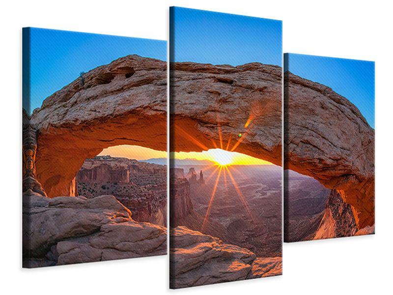 Leinwandbild 3-teilig modern Sonnenuntergang am Mesa Arch