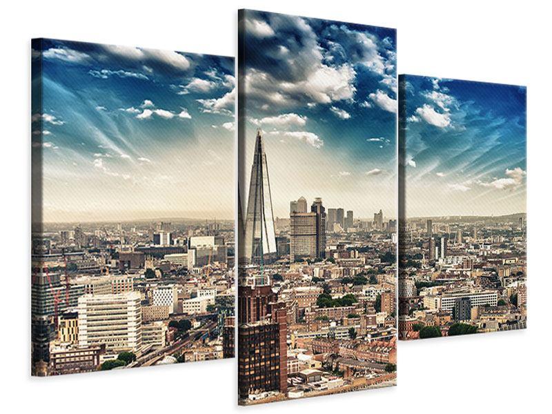 Leinwandbild 3-teilig modern Skyline Über den Dächern von London