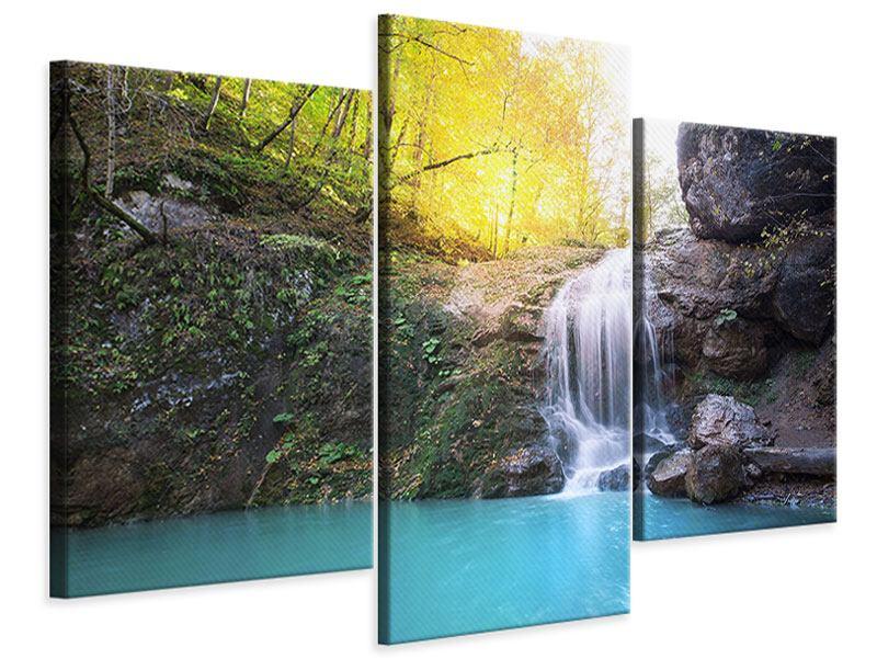 Leinwandbild 3-teilig modern Fliessender Wasserfall