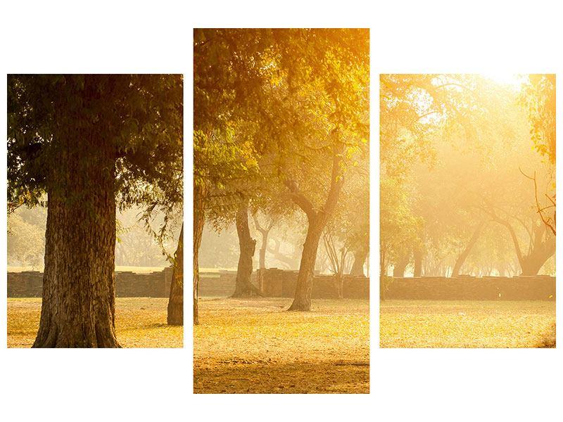 Leinwandbild 3-teilig modern Romantik unter Bäumen