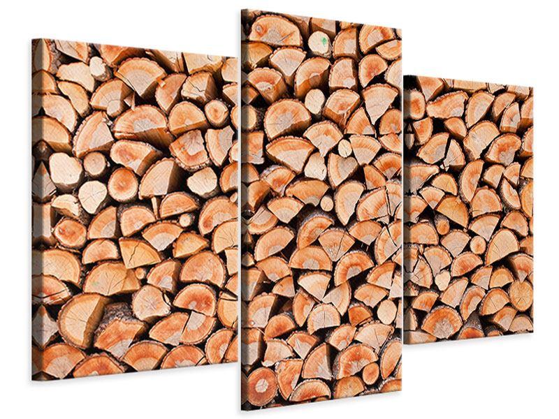 Leinwandbild 3-teilig modern Birkenstapel