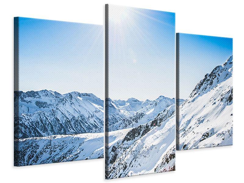 Leinwandbild 3-teilig modern Bergpanorama im Schnee