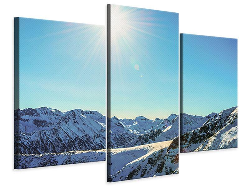 Leinwandbild 3-teilig modern Sonnige Berggipfel im Schnee
