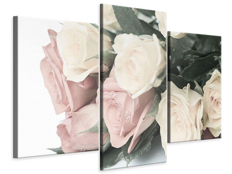 Leinwandbild 3-teilig modern Rosenromantik