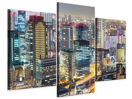 Leinwandbild 3-teilig modern Skyline Osaka im Lichtermeer