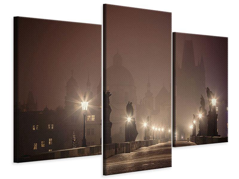 Leinwandbild 3-teilig modern Die Karlsbrücke bei Nacht
