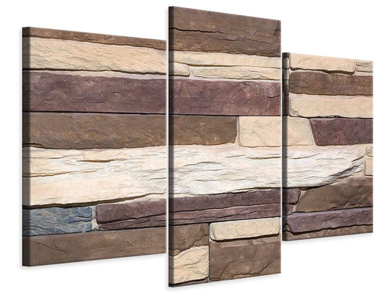 Leinwandbild 3-teilig modern Designer-Mauer