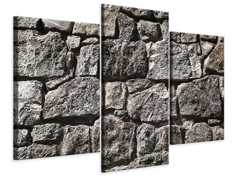 Leinwandbild 3-teilig modern Grosses Mauerwerk