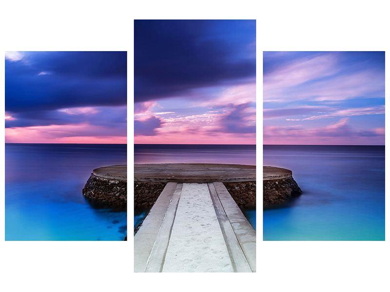 Leinwandbild 3-teilig modern Meditation am Meer