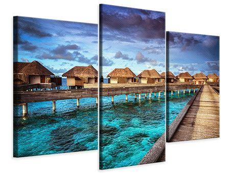 Leinwandbild 3-teilig modern Traumhaus im Wasser