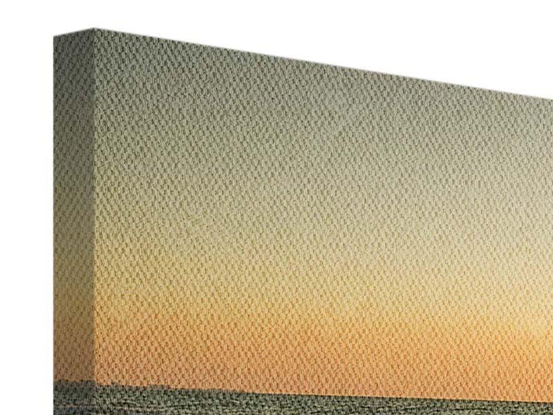 Leinwandbild 3-teilig modern Sonnenuntergang am Meer