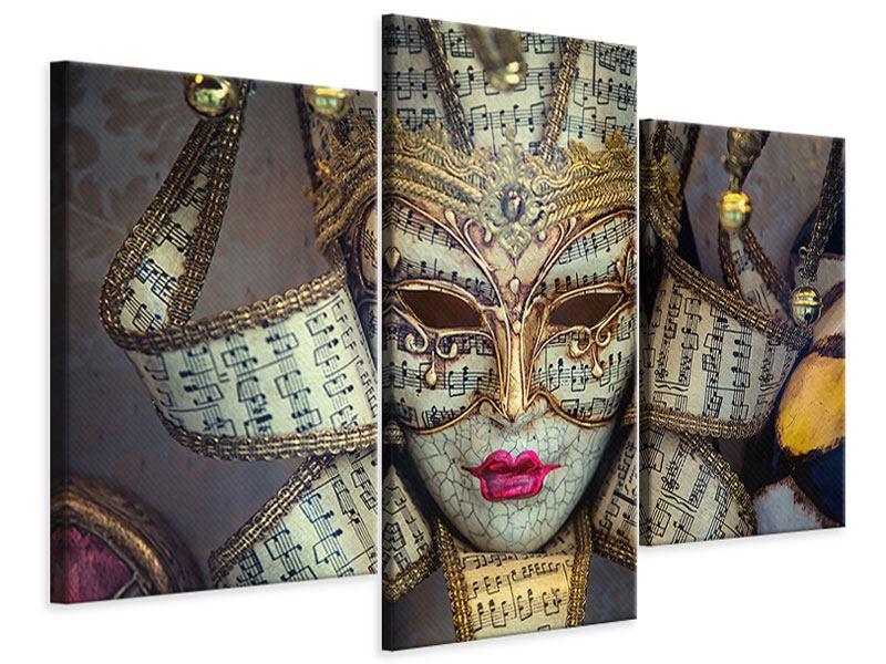 Leinwandbild 3-teilig modern Venezianische Maske