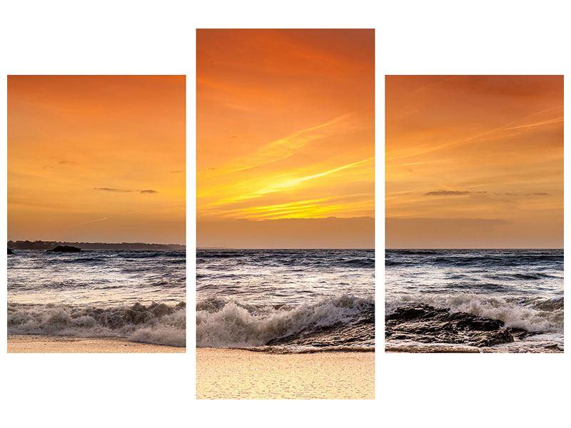 Leinwandbild 3-teilig modern See mit Sonnenuntergang