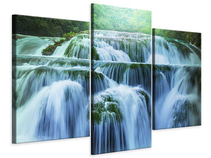 Leinwandbild 3-teilig modern Gigantischer Wasserfall