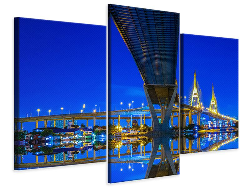 Leinwandbild 3-teilig modern Bhumiboll-Brücke
