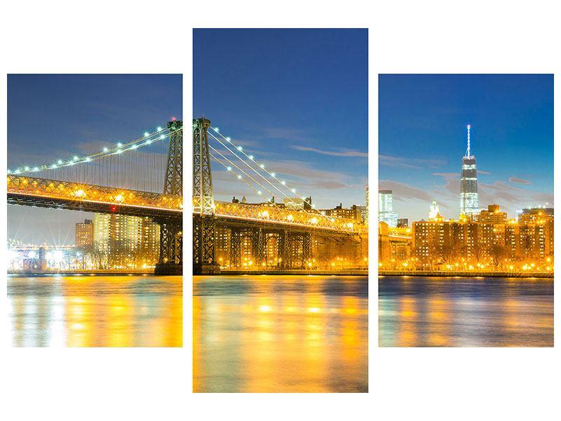 Leinwandbild 3-teilig modern Brooklyn Bridge bei Nacht