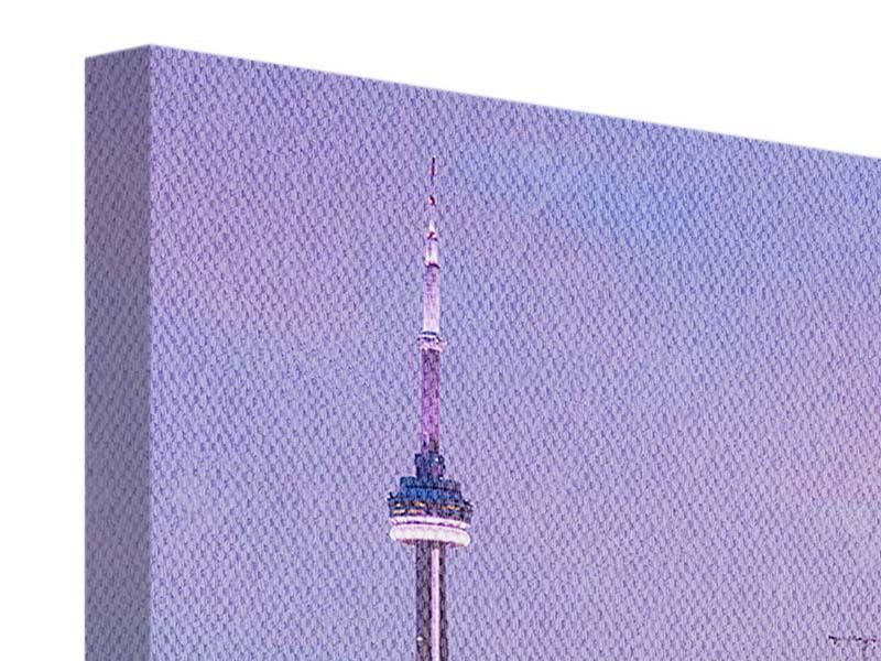 Leinwandbild 3-teilig modern Skyline Toronto bei Nacht