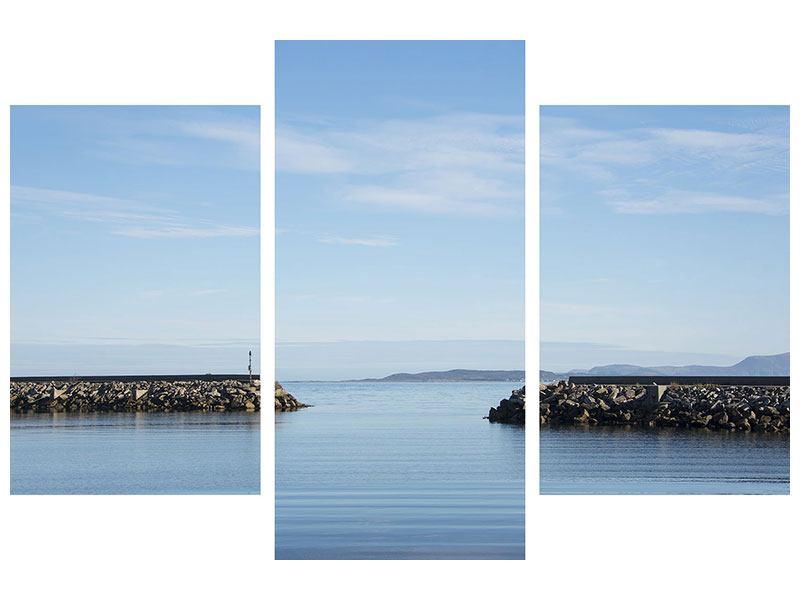 Leinwandbild 3-teilig modern Hafenmauern