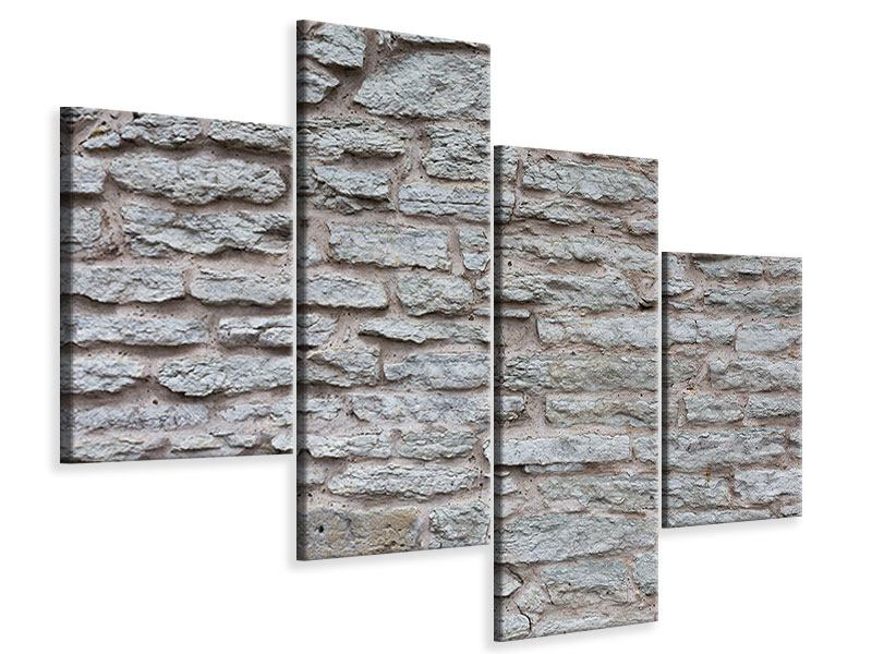 Leinwandbild 4-teilig modern Steinmauer