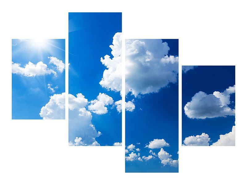 Leinwandbild 4-teilig modern Himmelblau