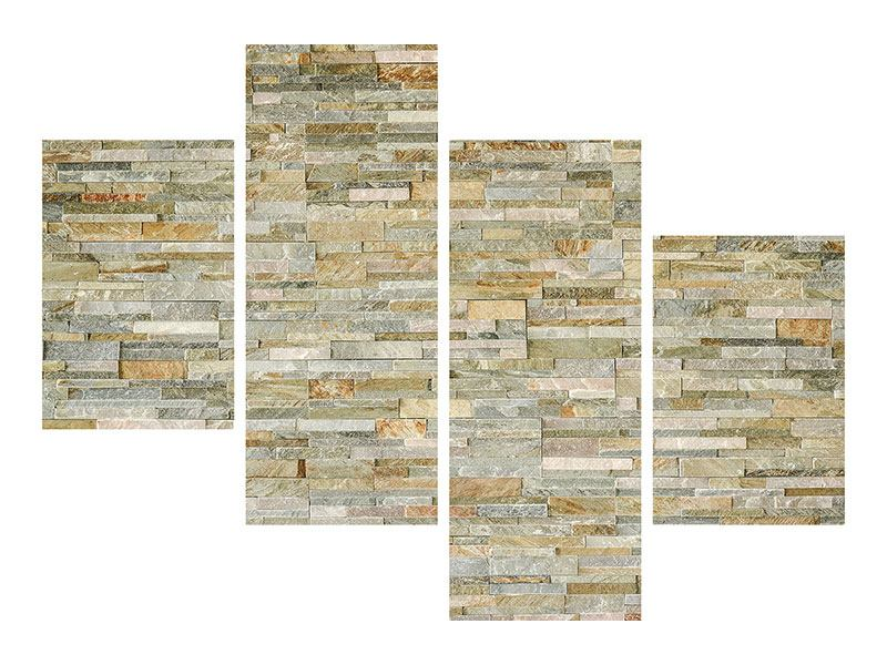 Leinwandbild 4-teilig modern Edle Steinmauer