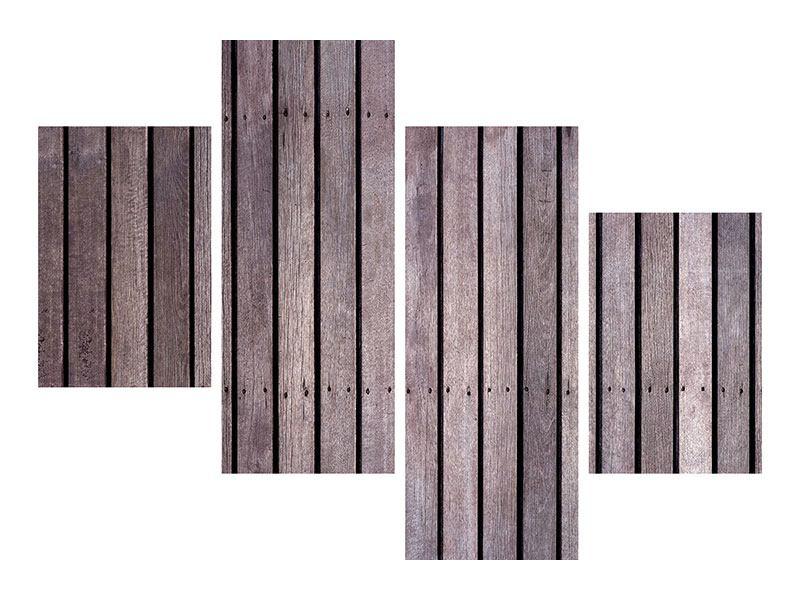 Leinwandbild 4-teilig modern Holzwand