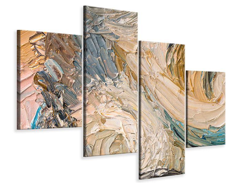 Leinwandbild 4-teilig modern Ölgemälde