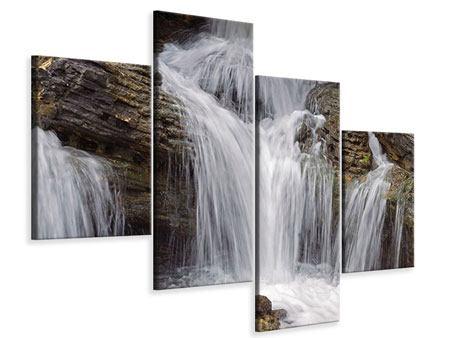 Leinwandbild 4-teilig modern Wasserfall XXL