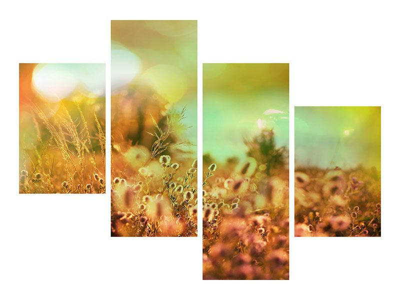 Leinwandbild 4-teilig modern Blumenwiese in der Abenddämmerung