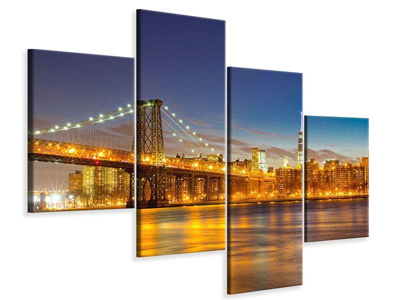 Leinwandbild 4-teilig modern Skyline NY Williamsburg Bridge