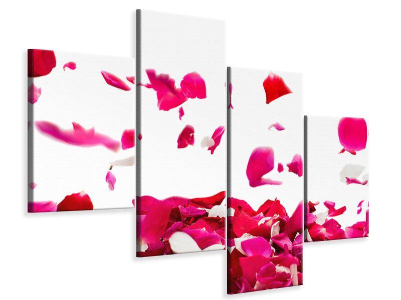 Leinwandbild 4-teilig modern Für mich soll`s rote Rosen regnen