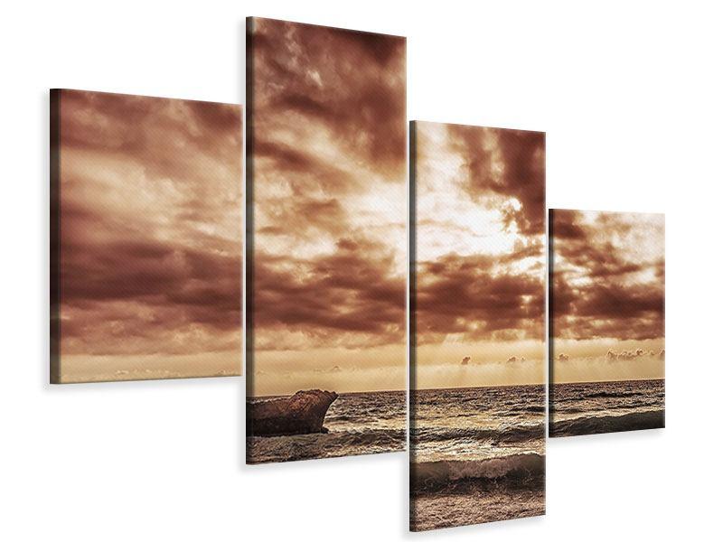 Leinwandbild 4-teilig modern Meeresrauschen
