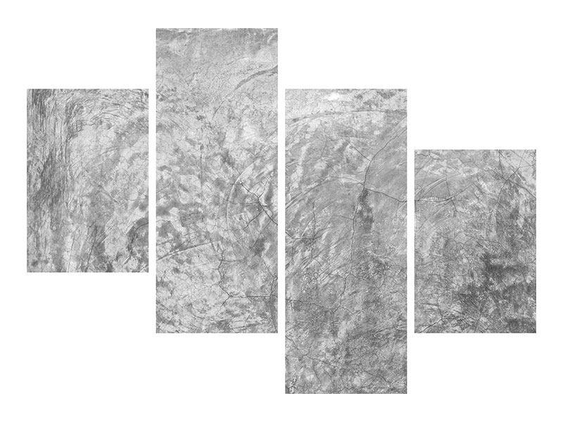 Leinwandbild 4-teilig modern Wischtechnik in Grau