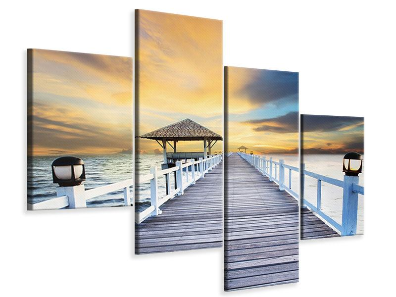 Leinwandbild 4-teilig modern Die Brücke ins Meer