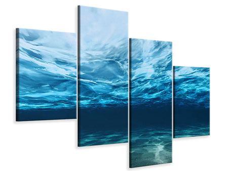 Leinwandbild 4-teilig modern Lichtspiegelungen unter Wasser