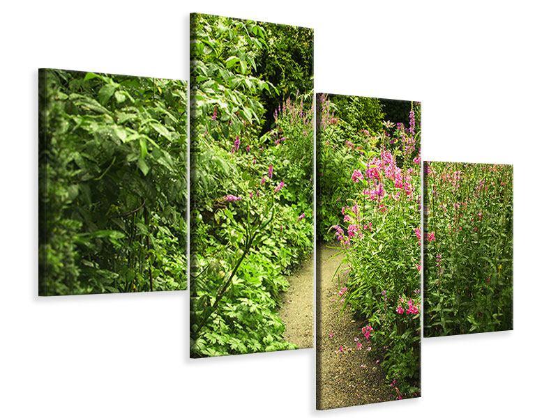 Leinwandbild 4-teilig modern Gartenweg