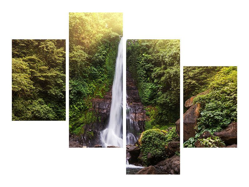 Leinwandbild 4-teilig modern Wasserfall Bali