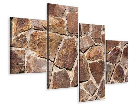 Leinwandbild 4-teilig modern Designmauer
