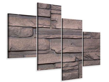 Leinwandbild 4-teilig modern Luxusmauer