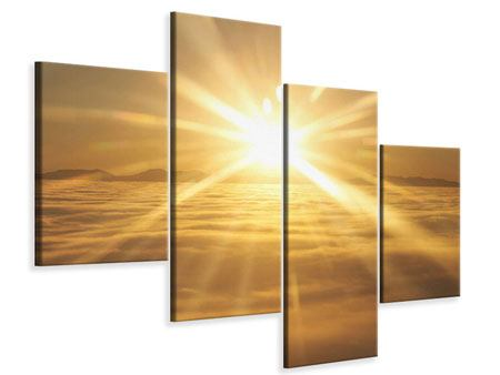 Leinwandbild 4-teilig modern Über dem Wolkenmeer