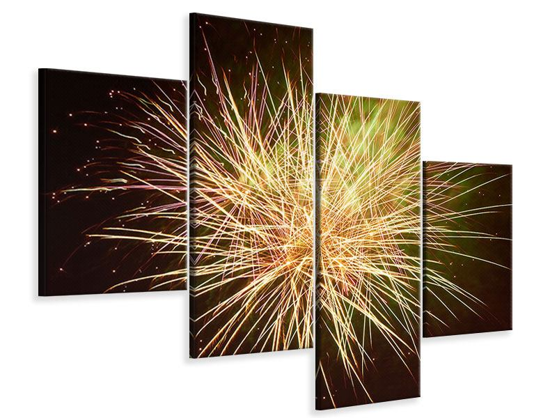 Leinwandbild 4-teilig modern Feuerwerk XXL