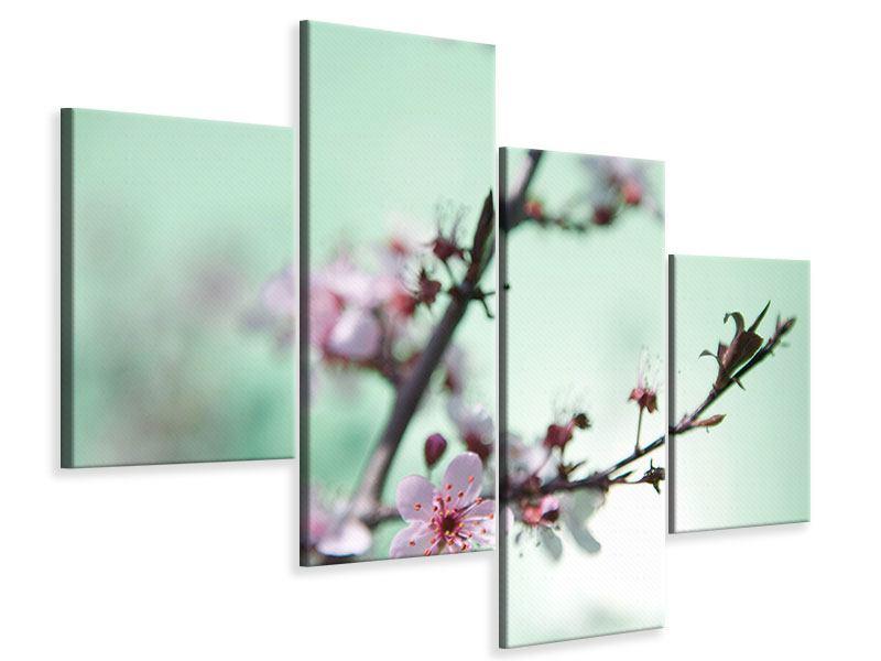Leinwandbild 4-teilig modern Die japanische Kirschblüte
