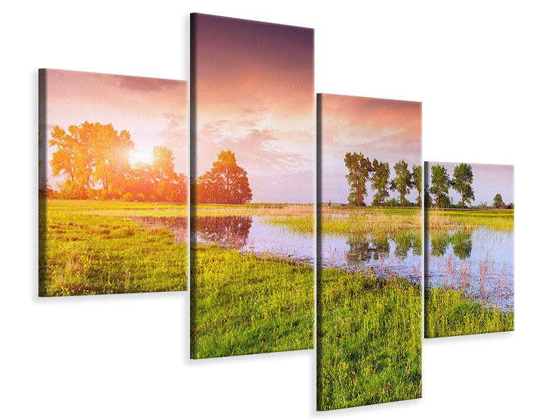 Leinwandbild 4-teilig modern Sonnenuntergang am See