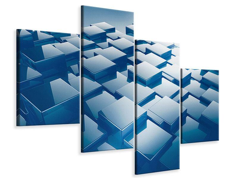 Leinwandbild 4-teilig modern 3D-Cubes