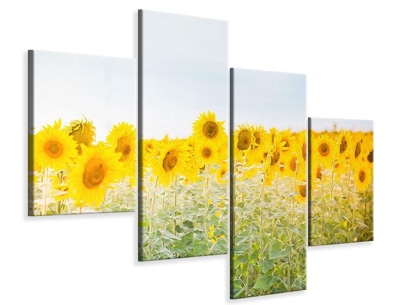 Leinwandbild 4-teilig modern Im Sonnenblumenfeld