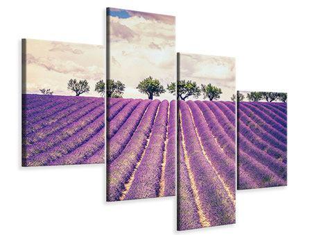 Leinwandbild 4-teilig modern Das Lavendelfeld