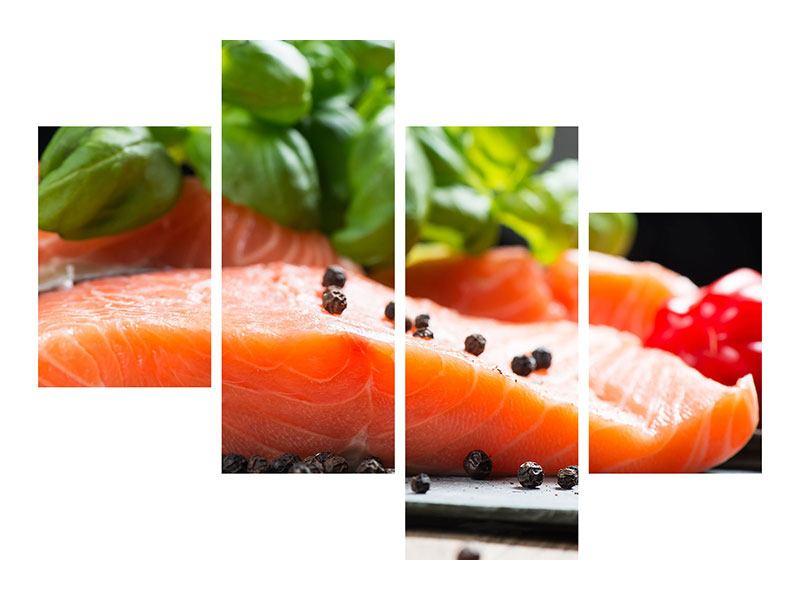 Leinwandbild 4-teilig modern Frischer Fisch