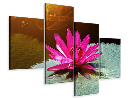 Leinwandbild 4-teilig modern Der Frosch und das Seerosenblatt
