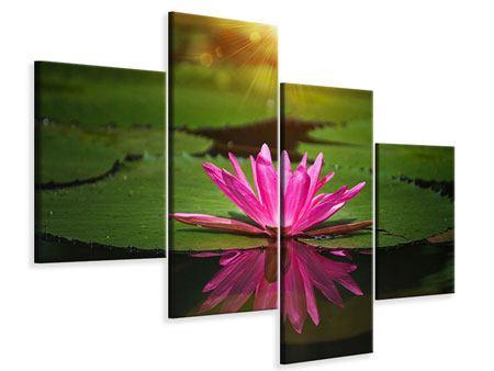 Leinwandbild 4-teilig modern Lilienspiegelung