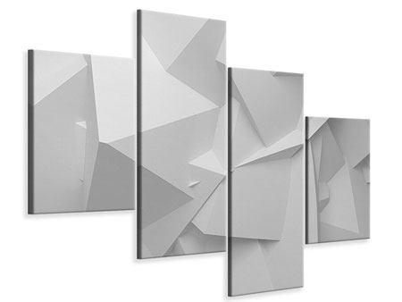 Leinwandbild 4-teilig modern 3D-Raster
